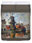 The Windmill Amsterdam Claude Monet 1874 Duvet Cover