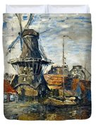 The Windmill On The Onbekende Gracht, Amsterdam 1874 Duvet Cover