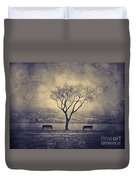 The Winter And The Benches Duvet Cover