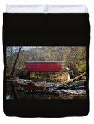 The Wissahickon Creek In Autumn - Thomas Mill Covered Bridge Duvet Cover