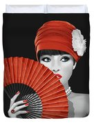 Woman With Paper Fan Duvet Cover