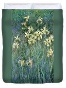 The Yellow Irises Duvet Cover by Claude Monet