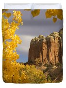 The Yellow Leaves Of Fall Frame A Rock Duvet Cover