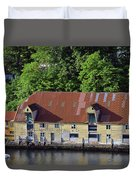 The 1905 Wooden Andreas Odfjell Warehouse On Bergen Harbor Duvet Cover