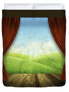 Theater Stage With Red Curtains And Nature Background  Duvet Cover