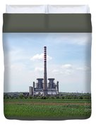 Thermal Power Plant On Green Wheat Field Industry Duvet Cover