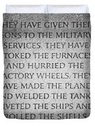 They Have Given Their Sons To The Military... - National World War II Memorial In Washington Dc Duvet Cover