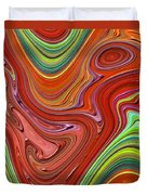 Thick Paint Orange Abstract Duvet Cover