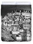Thiksey Monastery - Paint Bw Duvet Cover