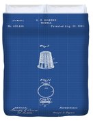 Thimble Patent 1891 In Blue Print Duvet Cover