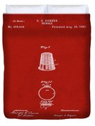 Thimble Patent 1891 In Red Duvet Cover