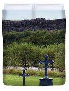 Thingvellir Church Cemetery, Iceland Duvet Cover