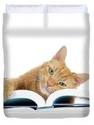 This Tabby Cat Loves Books  Duvet Cover