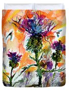 Thistles And Bees Watercolor And Ink Duvet Cover