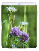 Clover And Daisies Duvet Cover