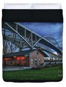 Thomas Edison Train Depot And Blue Water Bridges Duvet Cover