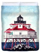 Thomas Point Shoal Lighthouse Annapolis Maryland Chesapeake Bay Light House Duvet Cover