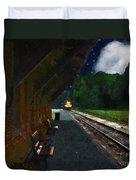 Thomaston Train At Night Duvet Cover