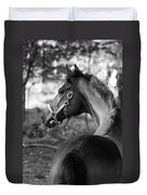 Thoroughbred - Black And White Duvet Cover