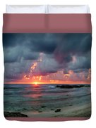Threatening Sky Above The Caribbean Sea Off Isle De Mujeras' North Shore Duvet Cover