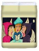 Three Angel Carolers Duvet Cover