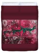 Three Antelope On Red Duvet Cover