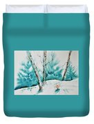 Three Aspens On A Snowy Slope Duvet Cover