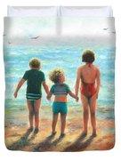 Three Beach Children Siblings  Duvet Cover