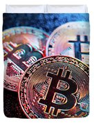 Three Bitcoin Coins In A Colorful Lighting. Duvet Cover