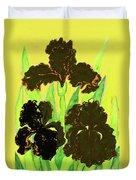Three Black Irises, Painting Duvet Cover