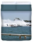 Three Boats Approaching The Start  Duvet Cover