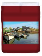 Three Boats At Peggys Cove Duvet Cover