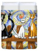 Three Cats On A Fence Duvet Cover