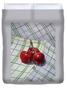 Three Sweet Cherries By Irina Sztukowski Duvet Cover