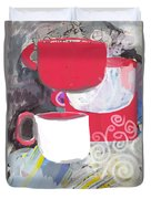 Three Coffee Cups Red And White Duvet Cover