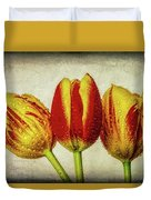 Three Dew Covered Tulips Duvet Cover