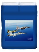 Three F-5e Tiger II Fighter Aircraft Duvet Cover