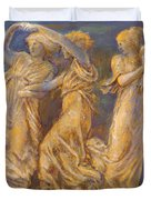 Three Female Figures Dancing And Playing Duvet Cover