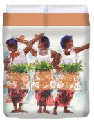 Three Fijian Dancers Duvet Cover