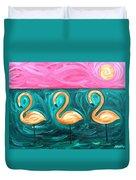 Three Flamingoes Duvet Cover
