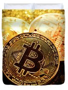Three Golden Bitcoin Coins On Black Background. Duvet Cover