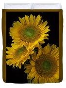 Three Golden Sunflowers Duvet Cover