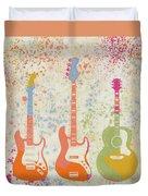 Three Guitars Paint Splatter Duvet Cover