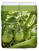 Three In A Row Green Tomatoes Duvet Cover