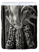 Three Indian Corn In Black And White Duvet Cover