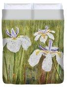 Three Irises In The Rain Duvet Cover