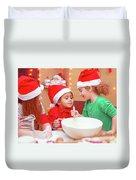 Three Kids Making Christmas Cookies Duvet Cover