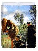Three Ladies In A Field Duvet Cover