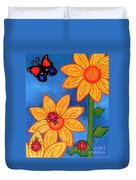 Three Ladybugs And Butterfly Duvet Cover