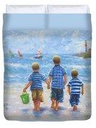 Three Little Beach Boys Walking Duvet Cover